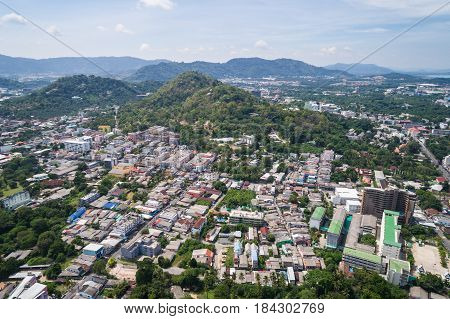 PHUKET THAILAND - APRIL 14 : Phuket old town with old buildings in Sino Portuguese style is a very famous tourist destination in Phuket on April 14 2017. Aerial view from flying drone
