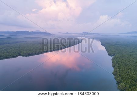 Mangrove Forest And River At Phang-nga Bay Southern Of Thailand. Aerial View From Flying Drone