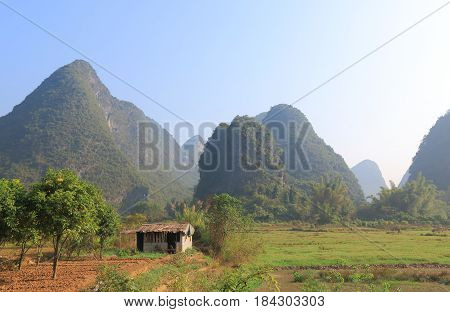 Beautiful karst mountain landscape in Yangshou China