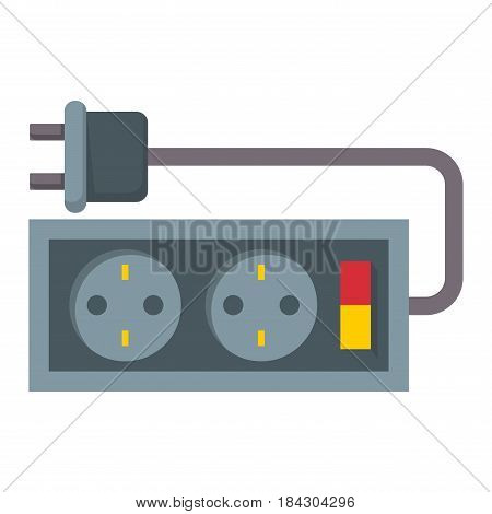 Electric outlet illustration energy socket electrical plug european appliance interior vector icon. Wire cable cord connection electrical double american wattage consumption.