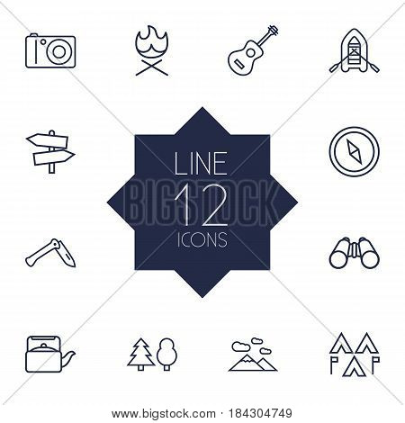Set Of 12 Outdoor Outline Icons Set.Collection Of Guitar, Guidepost, Forest And Other Elements.