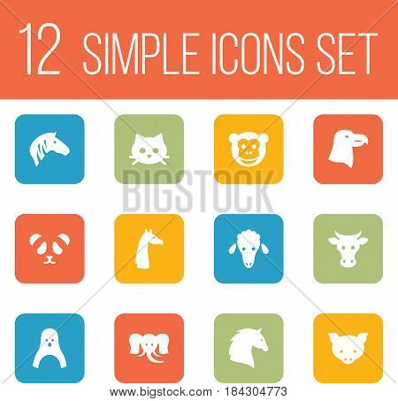 Set Of 12 Beast Icons Set.Collection Of Kine, Hog, Lamb And Other Elements.