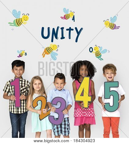 Kids Children Friendship Together Team Bee Graphic