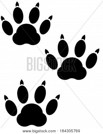 Imprint of the trace animal on white background