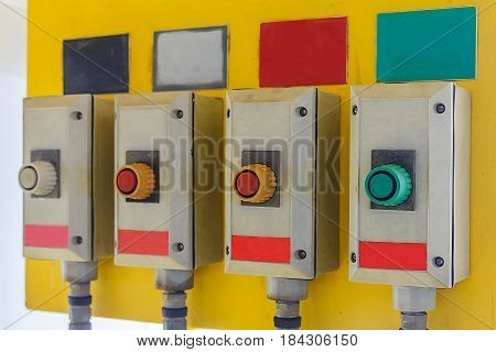 Industrial machine's pushing button hand switch on/off for control system all process