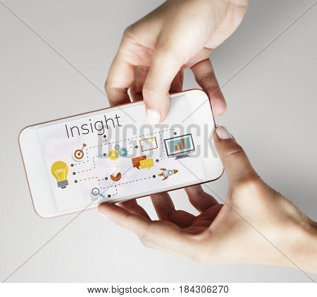 People using smart phone with ideas invention and creative icon