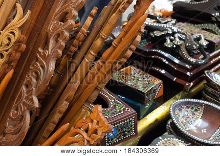 wooden handicraft hand made from carved wood traditional craft with pattern from Indonesia Asia motif