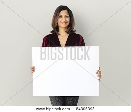 Adult Woman Hands Hold Blank Paper Board Copy Space