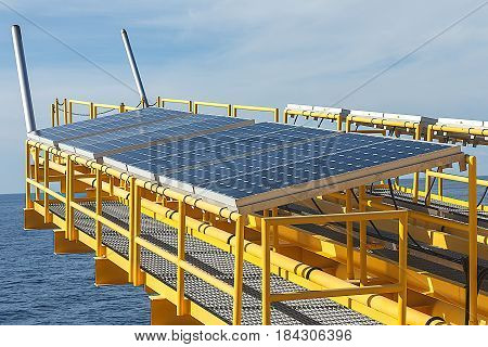 Solar energy panel photovoltaics module in the sea offshore