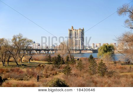 Wide angle view of Jilin cityscape in north China.