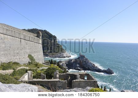 Porto venere view from the top of the castle