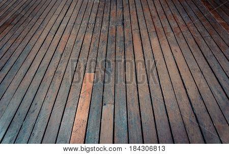 Wood Background, Perspective Wooden Floor. Vintage Tone.