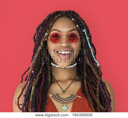 African Woman Smiling Happiness Studio Portrait