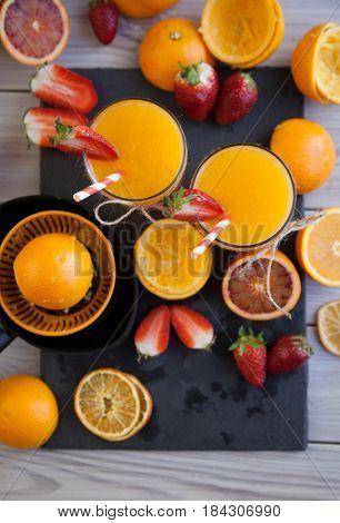 fresh orange juice on table