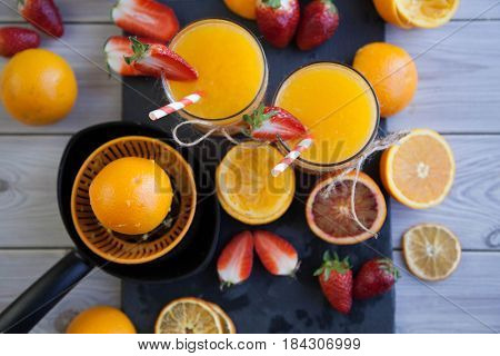 fresh orange juice on table