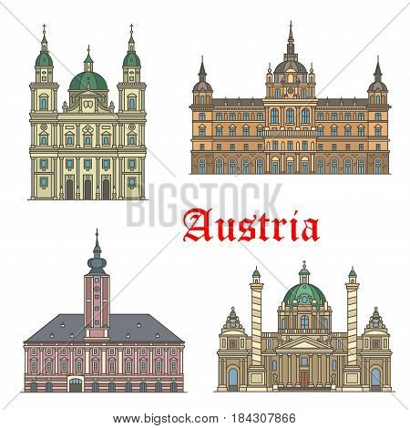 Austrian travel landmarks of architecture thin line icon set with Baroque church Karlskirche, Salzburg Cathedral, City Hall or Grazer Rathaus, St Polten town hall. Travel guide, tourism themes design