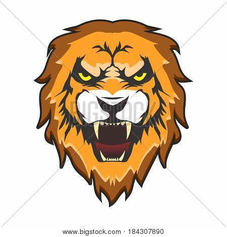 Vector Head of Aggressive Male Lion with Open mouth and tooth