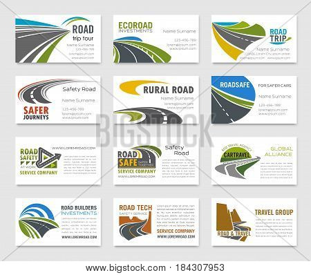 Business card template with road, highway, bridge, mountain and coastal path icons and text layout for road building company, travel agency, transportation service and traffic safety design