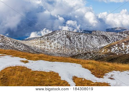 Patches Of Snow Building Up On Slopes Of Snowy Mountains At Mount Kosciuszko National Park, Australi