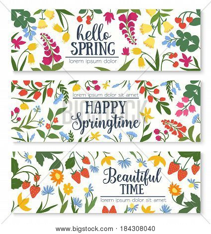 Hello spring greeting floral banner. Wildflower and forest berry frame of daisy, lily of the valley, strawberry, bell flower, cherry, cornflower and blooming herb with wishes of Happy Spring in center