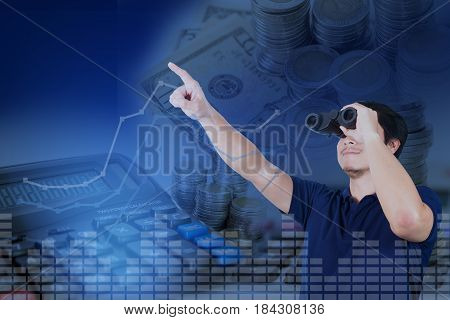 Double Exposure Of Asian Investor With Binoculars With Growth Graph Chart And Blurred Stacks Of Coin