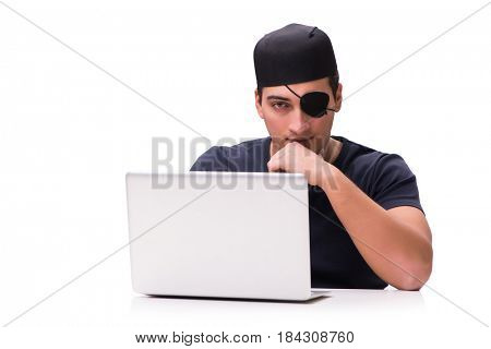 Digital security concept with pirate isolated on white
