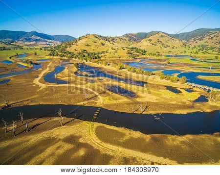 Aerial View Of Lake Hume And Murray Valley Highway Near Tallangatta, Victoria, Australia