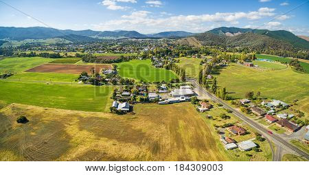 Agricultural Fields In Australian Countryside Aerial Panorama. Myrtleford, Victoria, Australia
