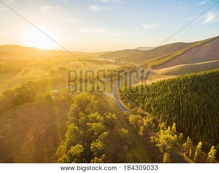 Beautiful Sunset Over Great Alpine Road - Aerial View. Victoria, Australia
