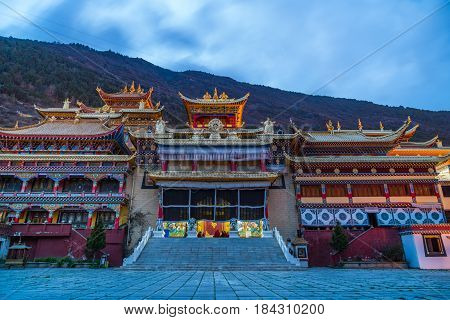 Twilight at tibetan monastery in Kangding Sichuan China