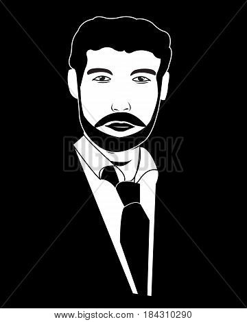 Silhouette of the young person in suit on black background