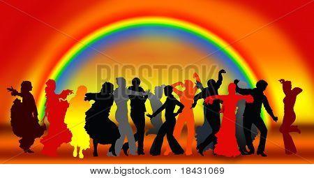 Illustration of people dancing flamenco traditional spanish dance.