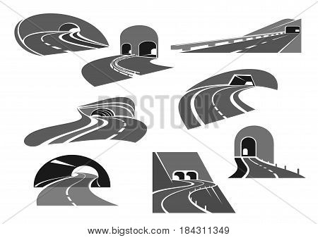 Road tunnel isolated icon set. Mountain road, winding highway and freeway leading to entrance of tunnel. Transportation service, road building, travel themes design