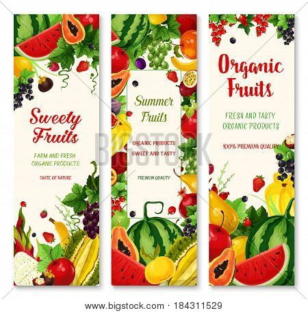 Summer fruit banners. Organic farm apple and strawberry, banana, orange and cherry, grape, lemon, papaya, watermelon and plum, fig, dragon fruit and carambola, passion fruit, durian and currant berry