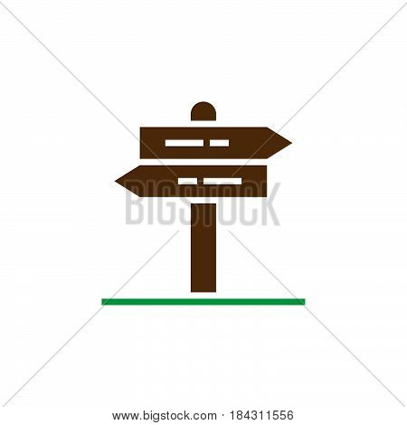 Signpost Icon Vector, Pointer Solid Logo, Pictogram Of A Guidepost Isolated On White, Color Pixel Pe