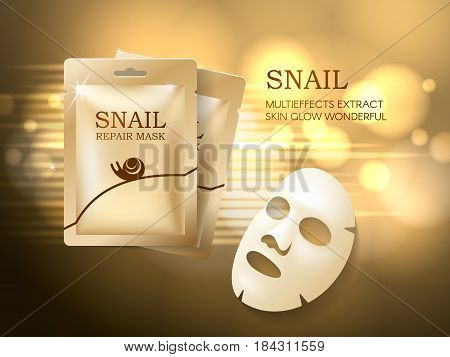 Snail cosmetic ads template, face mask and golden sachet package mockup for ads or magazine.