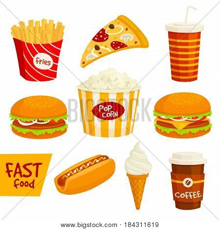 Fast food sandwich, drink and snack isolated icon set. Hamburger, pizza slice, hot dog, coffee, french fries, sweet soda, cheeseburger, popcorn and ice cream cone. Fast food takeaway menu design