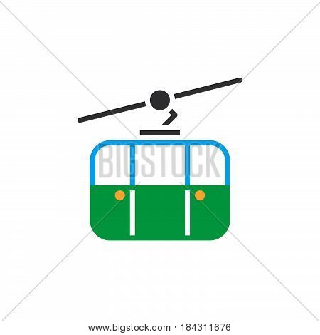 Cableway Icon Vector, Ropeway Solid Logo, Pictogram Isolated On White, Color Pixel Perfect Illustrat