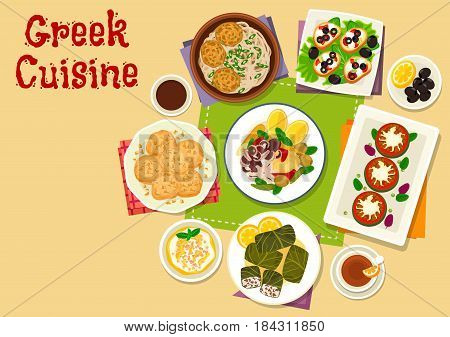 Greek cuisine healthy dishes icon of toast with cheese, olive and tomato, seafood vegetable salad, meatball with pasta, yogurt dessert, meat dolma, honey cookie, grilled zucchini with feta