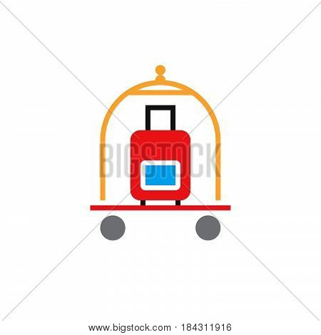 Hotel Luggage Cart Icon Vector, Solid Logo, Pictogram Isolated On White, Color Pixel Perfect Illustr