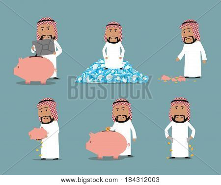 Rich and bankrupt arab businessman character set. Wealthy arabian man with piggy bank, oil tank and diamonds, broke businessman with empty pocket and broken still bank. Success and failure design