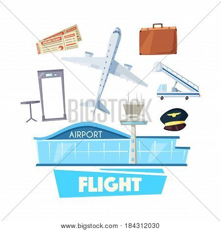 Airport and flight service cartoon icon. Airport building with airplane, flight ticket, luggage, security gate and mobile passenger stairs. Air tourism, travel, business trip or vacation themes design