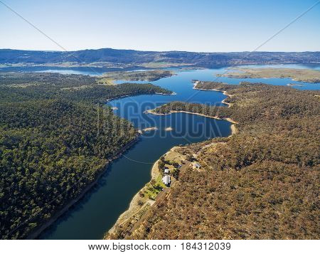 Aerial View Of Snowy River Flowing Into Lake Jindabyne, New South Wales, Australia