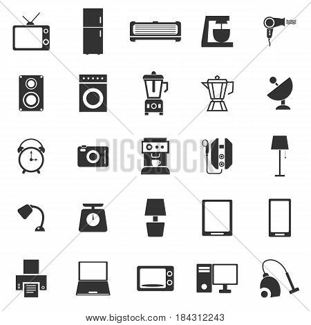Household icons on white background, stock vector