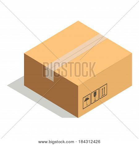 Closed paper cardboard box isolated on white with adhesive tape vector illustration. Delivery shipping package, square packed container, carton store package in flat design. Compact posted parcel