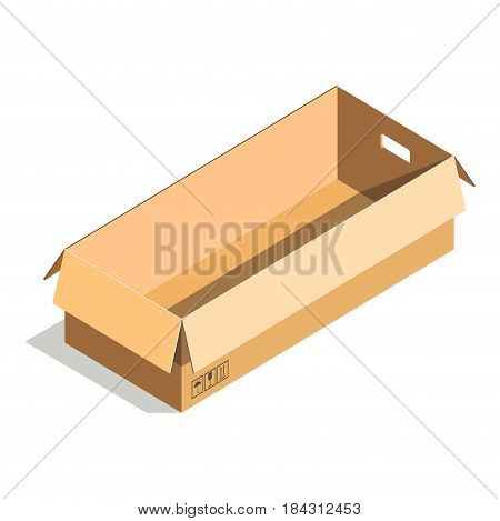 Delivery shipping package, rectangular empty container with handles, carton store package in flat design. Compact blank parcel. Empty paper open cardboard box isolated on white vector illustration.