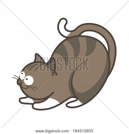Cartoon playful kitten going to jump vector illustration isolated. Fluffy cat with big round eyes in striped gray and white color. Sticker of graphic feline animal in flat design, pussy toy friend