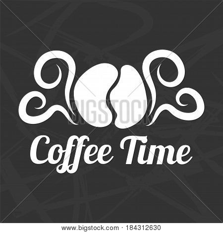 Coffee time logotype design isolated on black background. Coffe bean and white curved steam signs vector illustration in flat style. Sticker or logo for restaurant branding with arabica beans