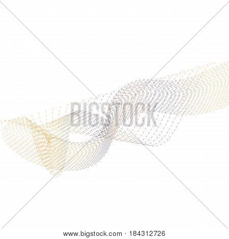 Abstract digital flowing wave of particles and curves. Modern futuristic vector illustration with dynamic particles could be used as an dynamic background or cover template.