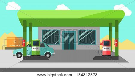 Filling station in green color with necessary facilities vector illustration in flat design. Car refueling by bensin at gas station with diesel choice concept, shop window and car cartoon style